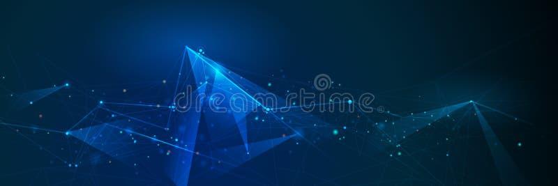 Bandeira abstrata das moléculas com a linha, geométrica, polígono Fundo da rede do projeto do vetor ilustração stock