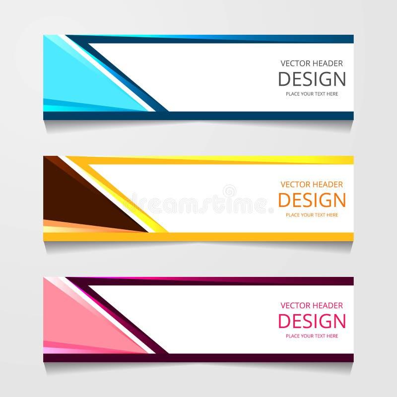 Bandeira abstrata do projeto, molde da Web com três cor diferente, moldes do encabeçamento da disposição, ilustração moderna do v imagens de stock
