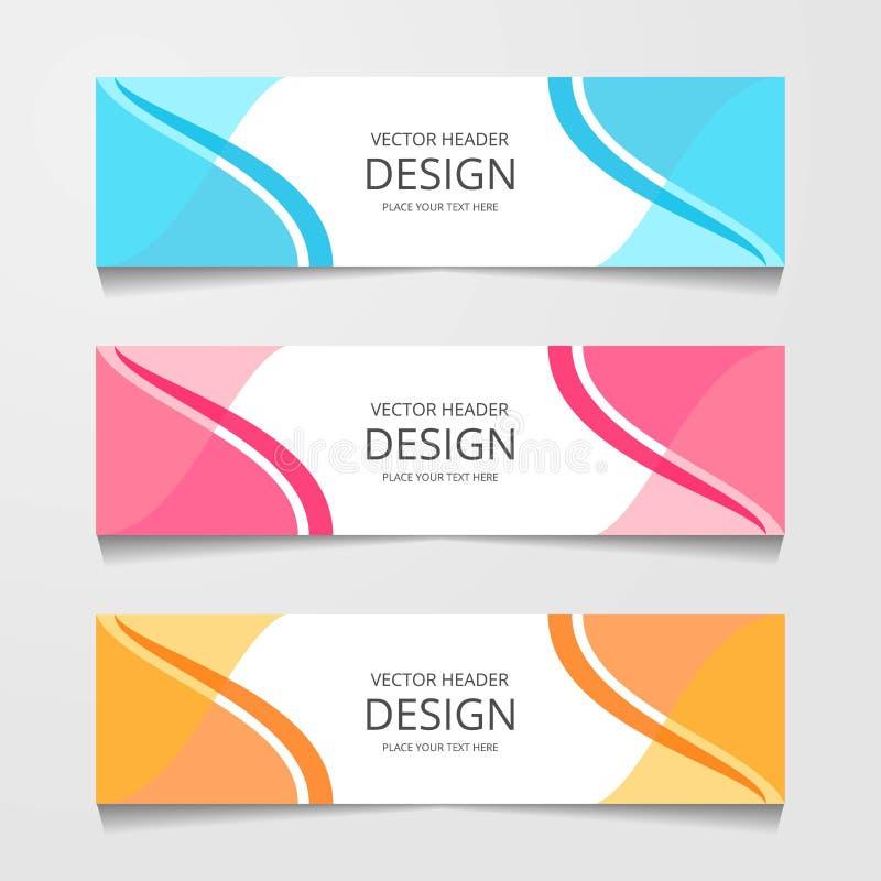 Bandeira abstrata do projeto, molde da Web, moldes do encabeçamento da disposição, ilustração moderna do vetor fotos de stock