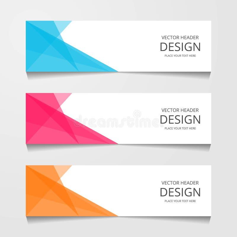 Bandeira abstrata do projeto, molde da Web, moldes do encabeçamento da disposição, ilustração moderna do vetor imagem de stock