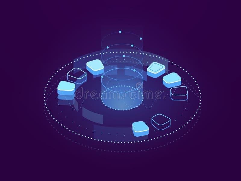 Bandeira abstrata do visualização dos dados, do processo de dados grande, do armazenamento da nuvem e do servidor hospedando, Cyb ilustração stock
