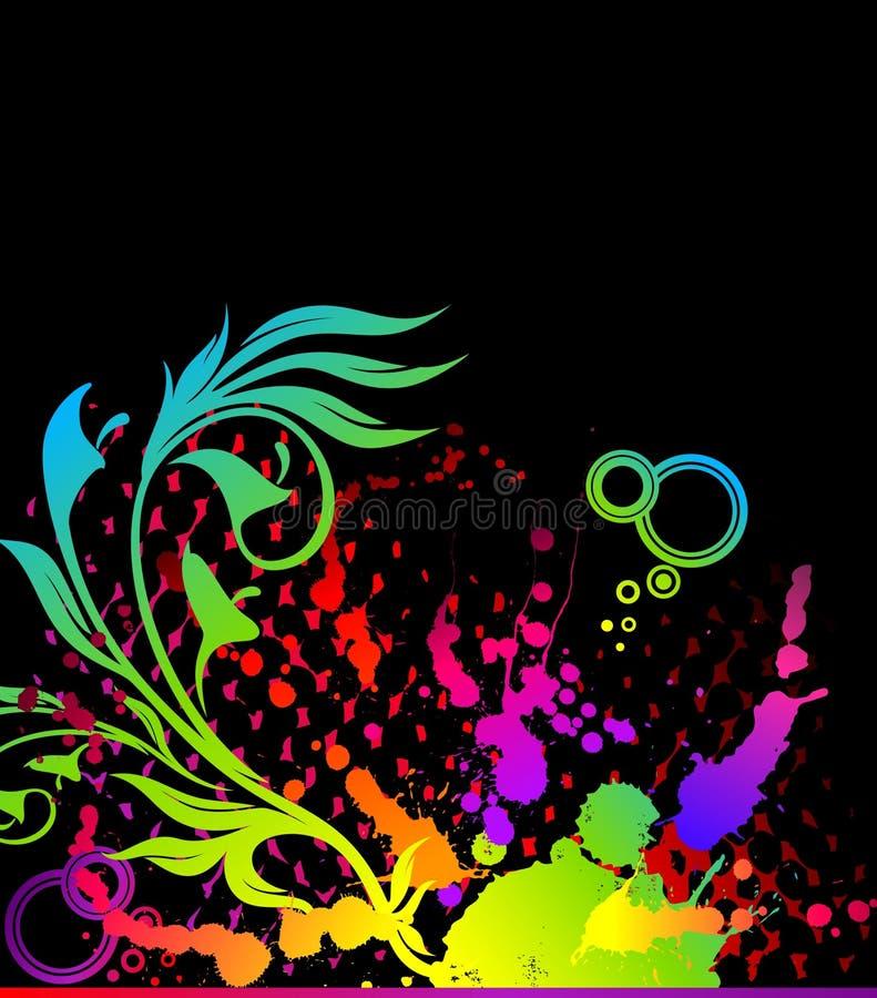bandeira abstrata floral do grunge ilustração stock