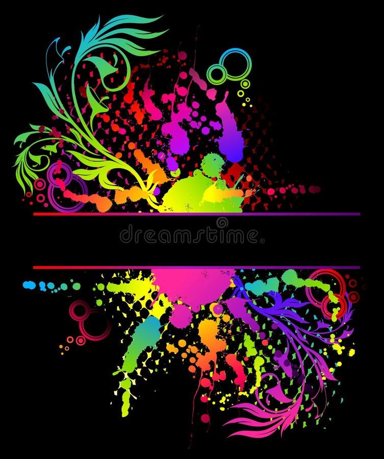 bandeira abstrata floral do grunge ilustração do vetor