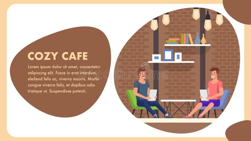 Bandeira acolhedor dos desenhos animados do café Decoração na moda do conforto ilustração royalty free