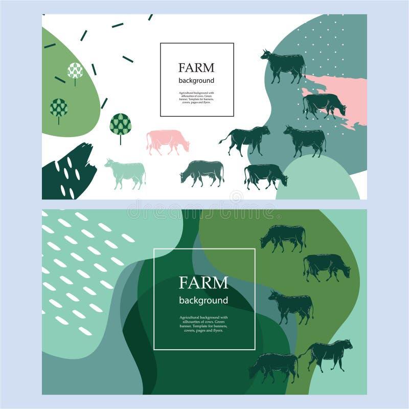 Bandeira agrícola horizontal Fundo para as tampas, insetos, bandeiras Silhuetas das vacas ilustração do vetor