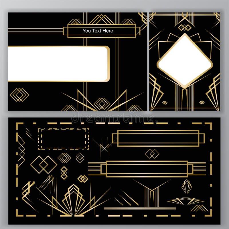 Bandeira ajustada dos tamplates do art deco de DIY ilustração stock