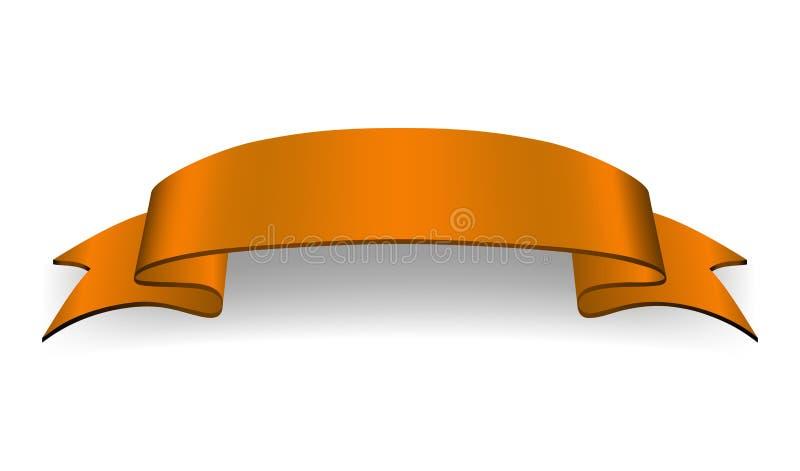 Bandeira alaranjada da fita Placa lustrosa da curva do cetim Projete o elemento da placa da fita de rolo da etiqueta isolado no f ilustração royalty free