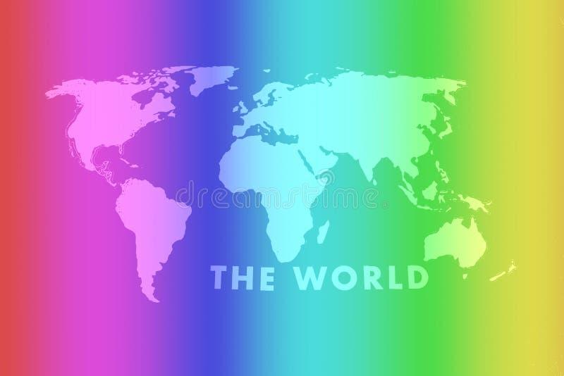 Bandeira alegre colorida de ondula??o do arco-?ris sobre de um fundo cinzento do mapa do mundo imagens de stock