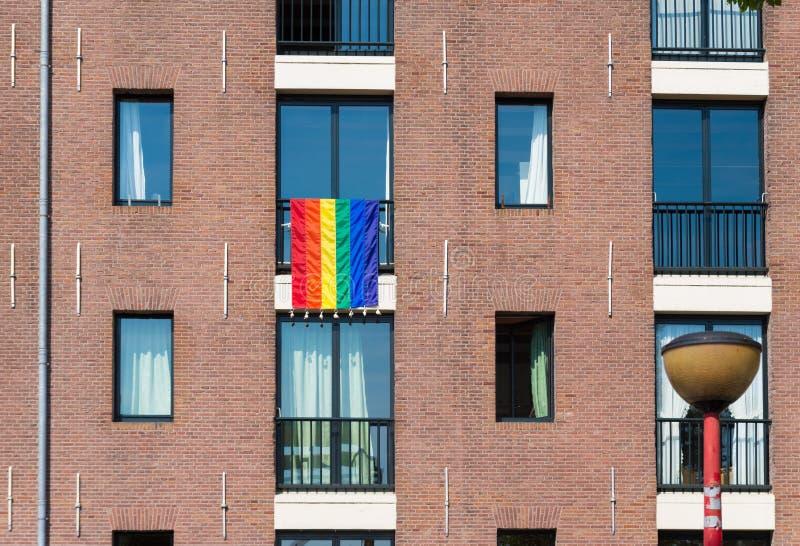 Bandeira alegre do arco-íris foto de stock royalty free
