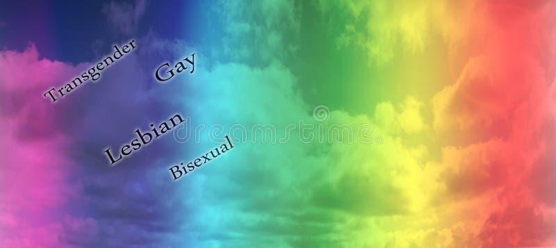 Bandeira alegre do arco-íris de LGBT sobre o fundo do céu Espa?o para o texto foto de stock royalty free