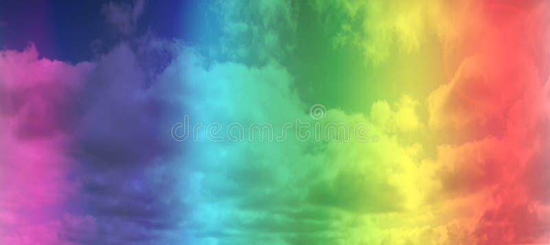 Bandeira alegre do arco-?ris de LGBT sobre o fundo do c?u Espa?o para o texto imagem de stock royalty free