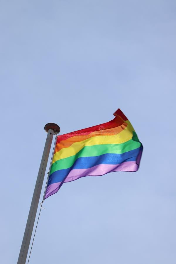 Bandeira alegre do arco-?ris do orgulho foto de stock royalty free