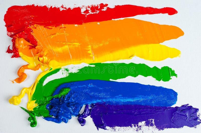 Bandeira alegre do orgulho do arco-íris foto de stock royalty free
