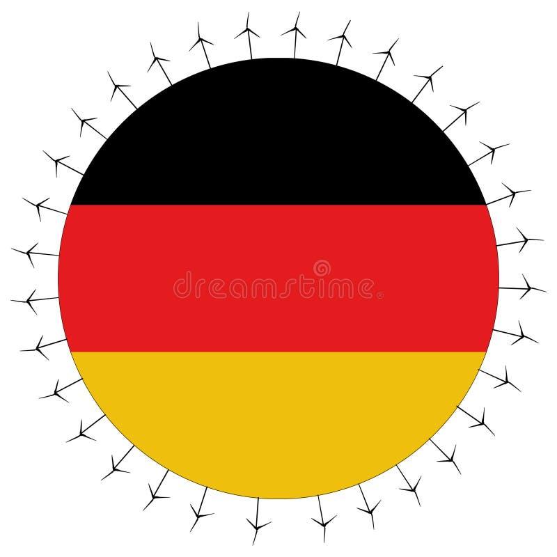 Bandeira alemão com turbinas de vento ilustração stock