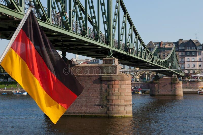 Bandeira alemão em Francoforte imagens de stock royalty free