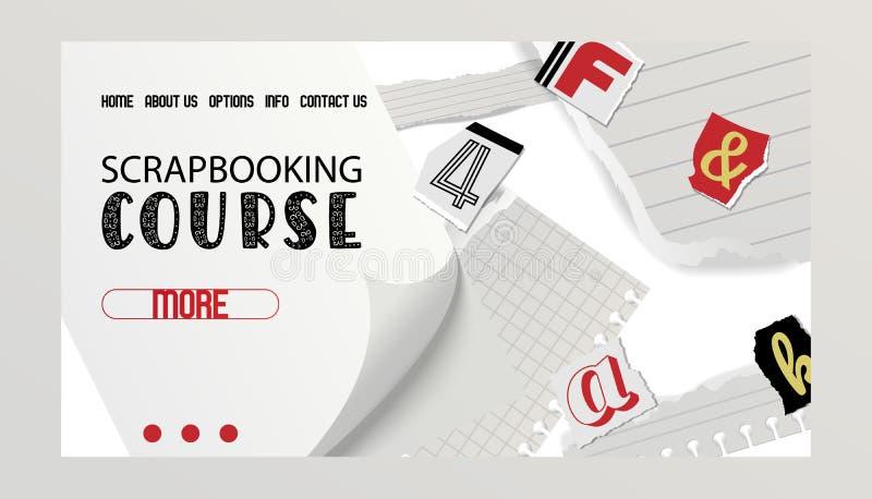Bandeira alfabética da colagem, ilustração do vetor do design web Curso de Scrapbooking Palavras cortadas por tesouras de ilustração royalty free