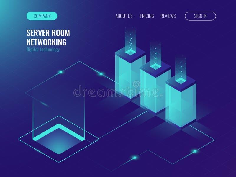 Bandeira, alojamento web e processamento da sala do servidor do conceito grande dos dados, vetor isométrico ultravioleta ilustração royalty free