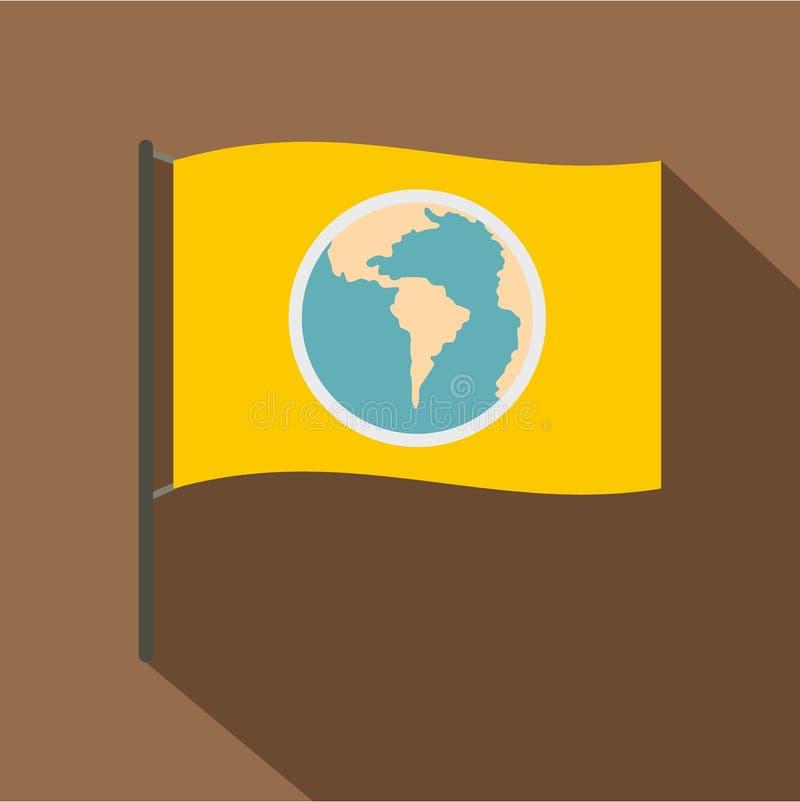 Bandeira amarela com a imagem do ícone do globo ilustração royalty free