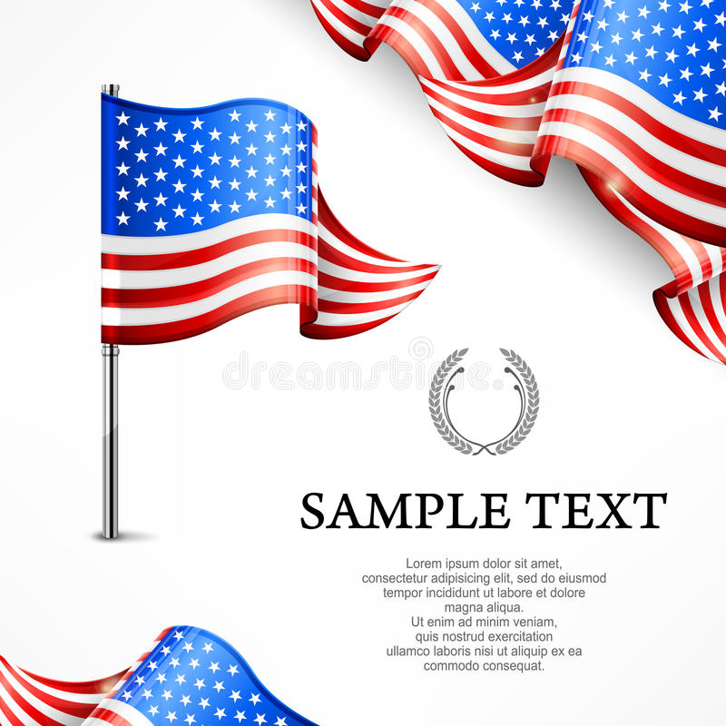 Bandeira americana & bandeiras com texto ilustração royalty free