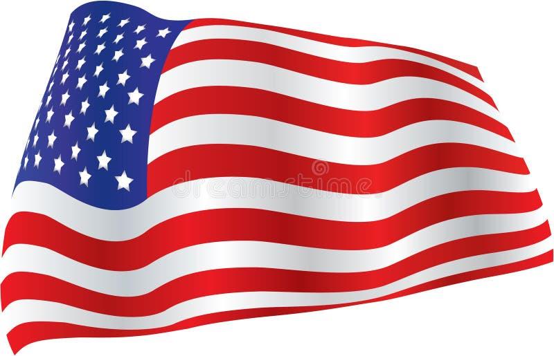 A bandeira americana billowed no vento ilustração do vetor
