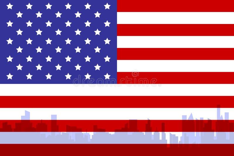 Bandeira americana com cidade ilustração do vetor