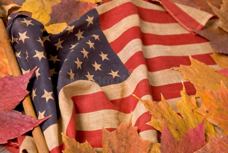 Bandeira americana com folhas da queda foto de stock