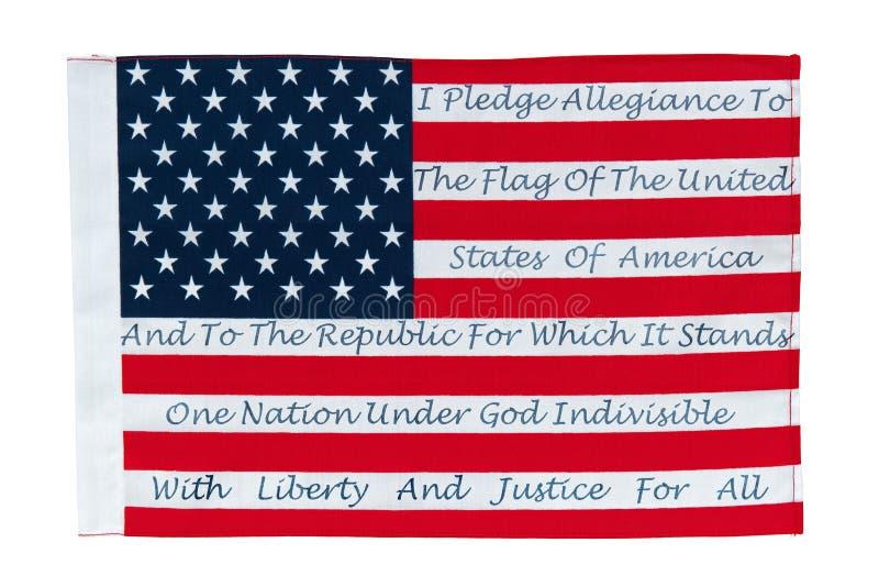 Bandeira americana com o Pledge da fidelidade imagem de stock royalty free