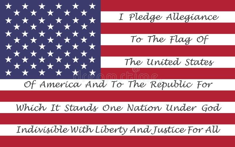 Bandeira americana com o Pledge da fidelidade ilustração do vetor
