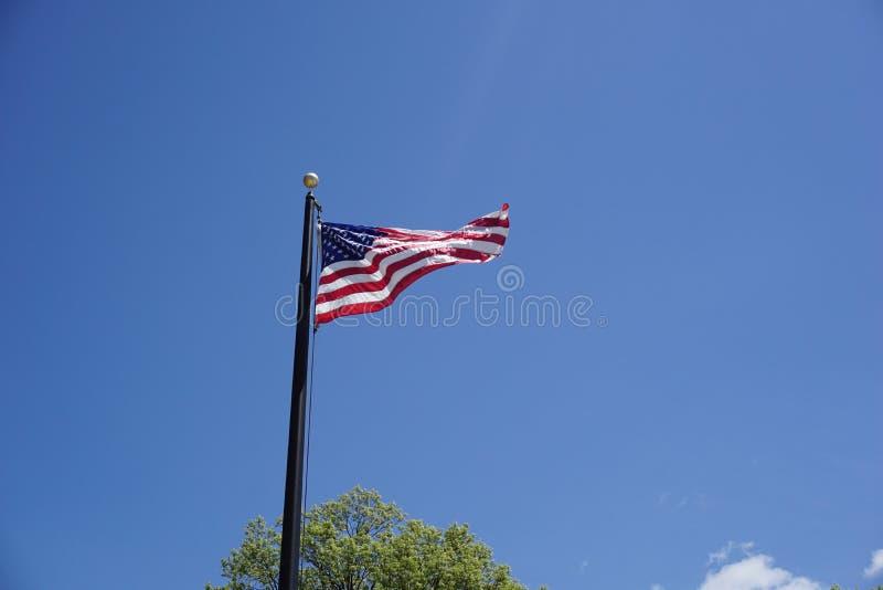 Bandeira americana contra o céu azul, batendo fotos de stock