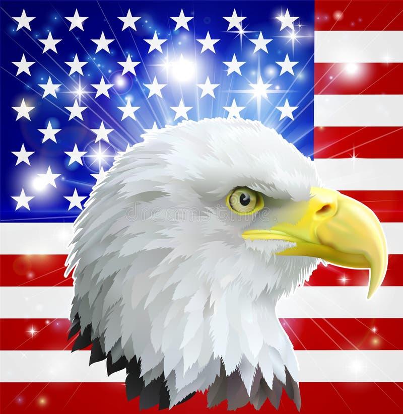 Bandeira americana da águia ilustração royalty free