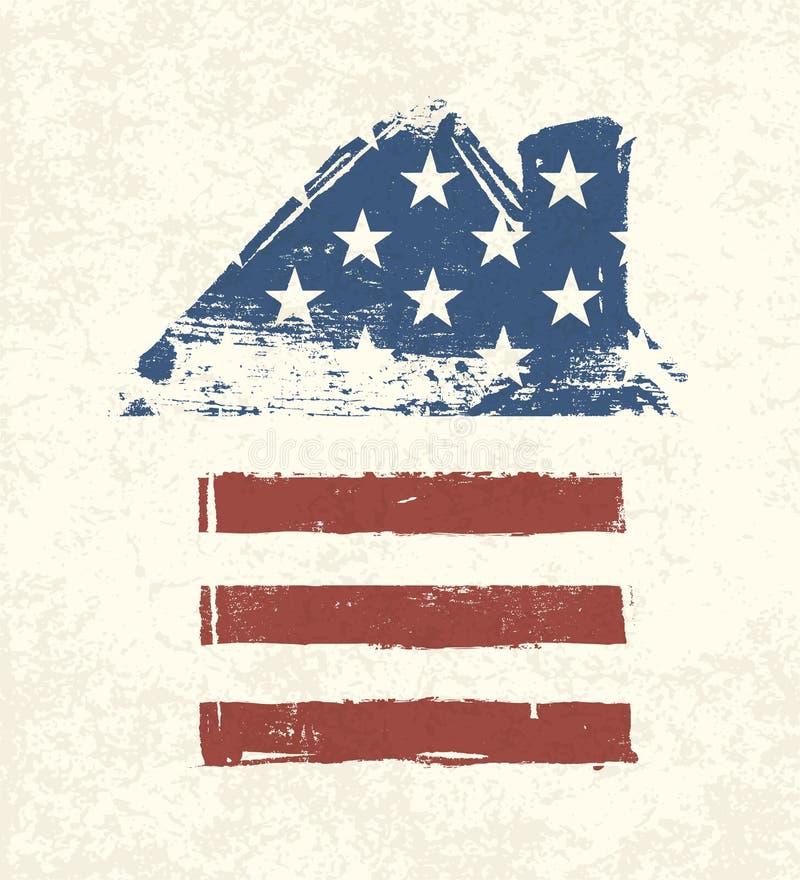 Bandeira americana dada fôrma casa. ilustração royalty free