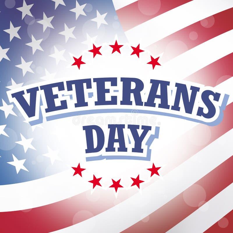 Bandeira americana de dia de veteranos ilustração do vetor