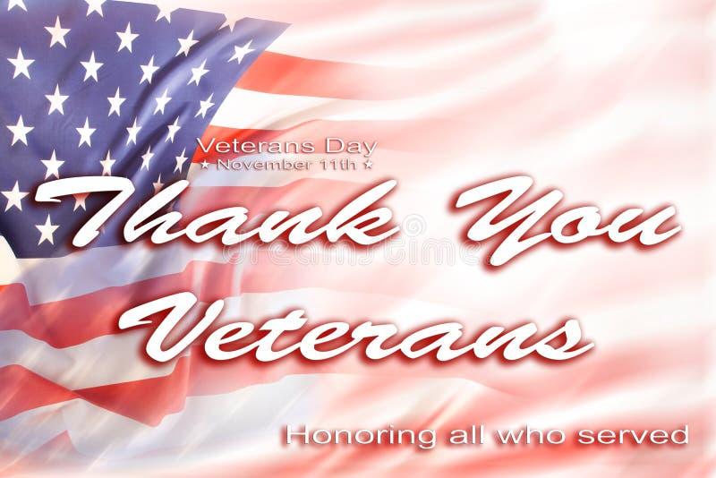 Bandeira americana de dia de veteranos ilustração stock