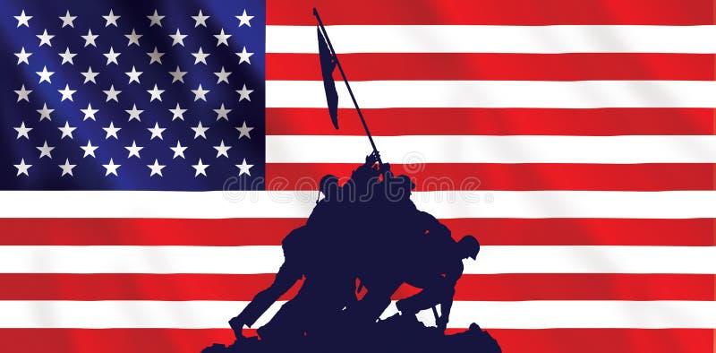 Bandeira americana de Iwo Jima ilustração royalty free
