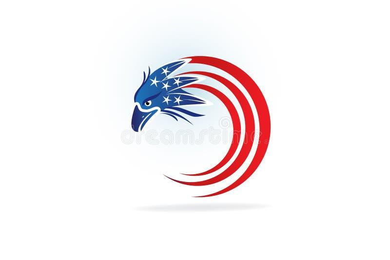 Bandeira americana de Logo Independence Day Eagle Flying EUA ilustração royalty free