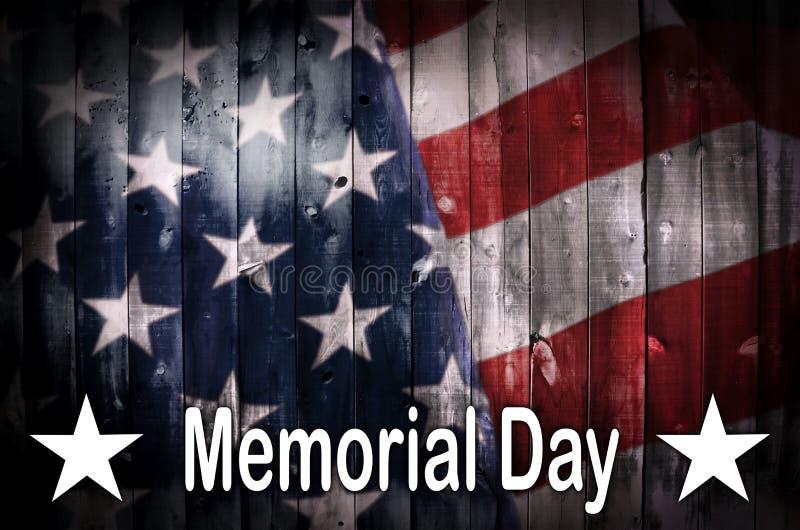 Bandeira americana de Memorial Day na madeira ilustração do vetor