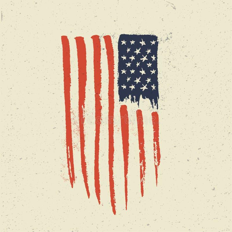 Bandeira americana desenhada mão O vintage do Grunge denominou a ilustração do vetor ilustração royalty free