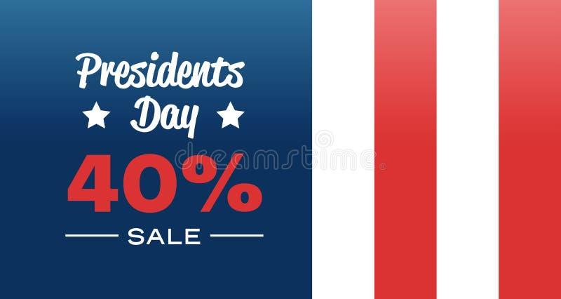 A bandeira americana do conceito grande feliz da venda do feriado do dia dos presidentes colore o molde com texto desconto de uma ilustração royalty free