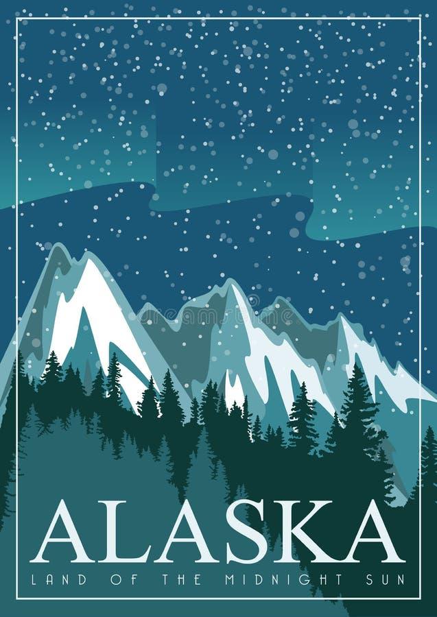 Bandeira americana do curso de Alaska Destino da neve landscape ilustração royalty free