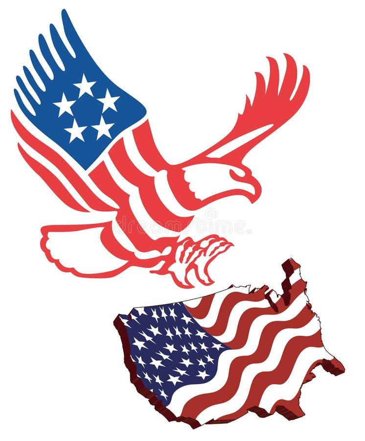 Bandeira americana do mapa ilustração royalty free