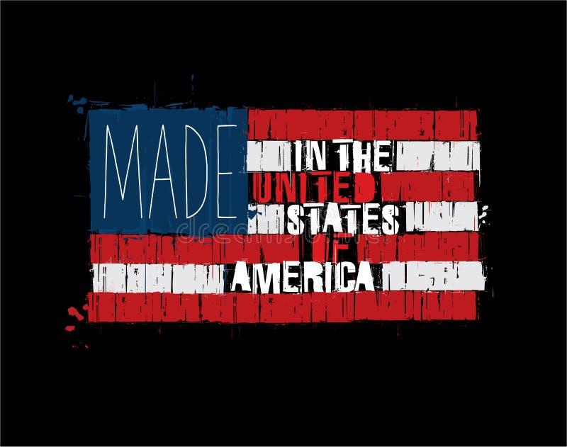 Bandeira americana do texto - feita nos EUA ilustração royalty free