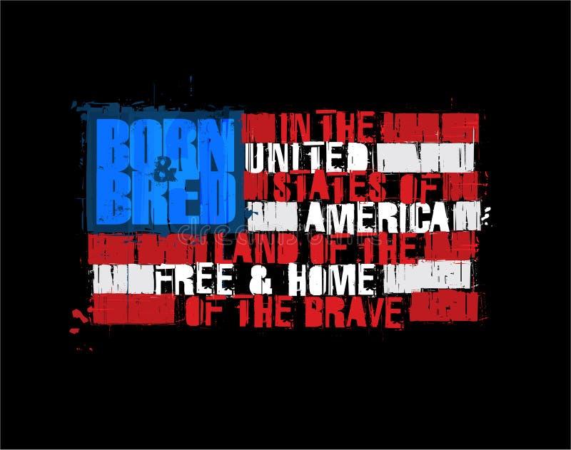 Bandeira americana do texto - terra da casa livre do negativo corajoso ilustração royalty free