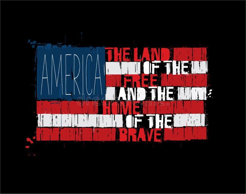 Bandeira americana do texto - terra de América da casa livre do corajoso ilustração royalty free