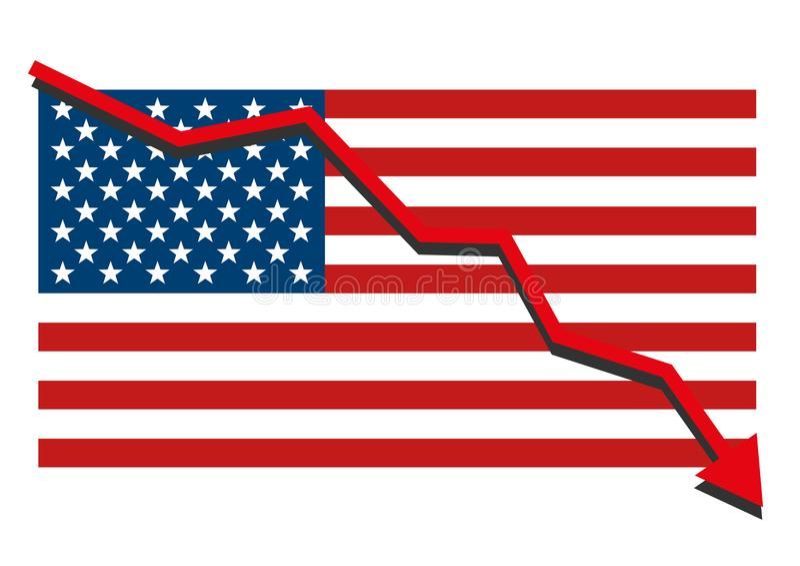 A bandeira americana dos EUA com o gráfico vermelho da seta que vai abaixo de mostrar a retirada da economia e as partes caem ilustração stock