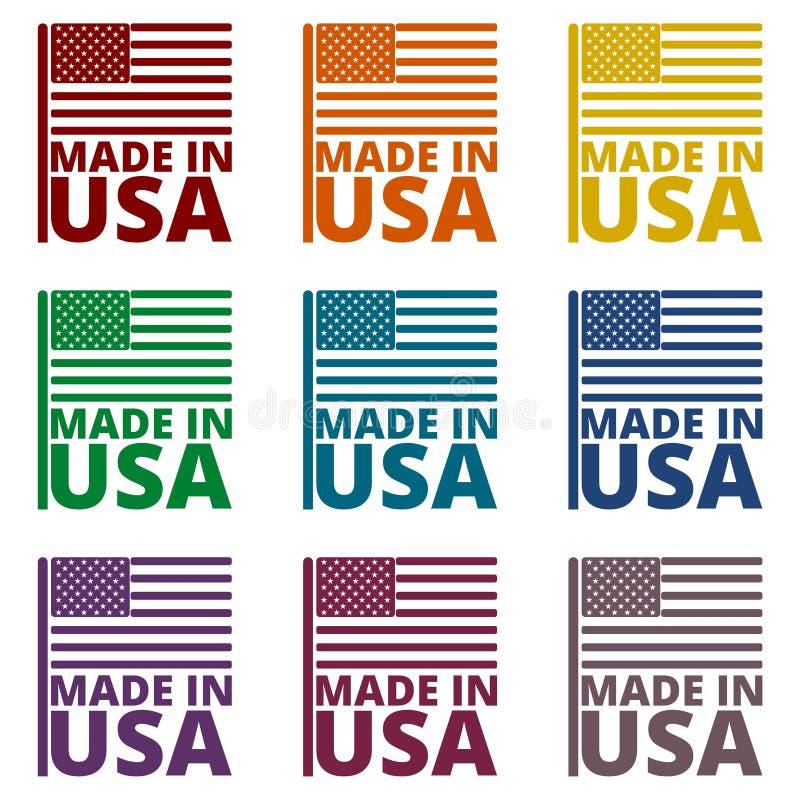 Bandeira americana dos EUA, feita nos EUA, ícones ajustados ilustração royalty free