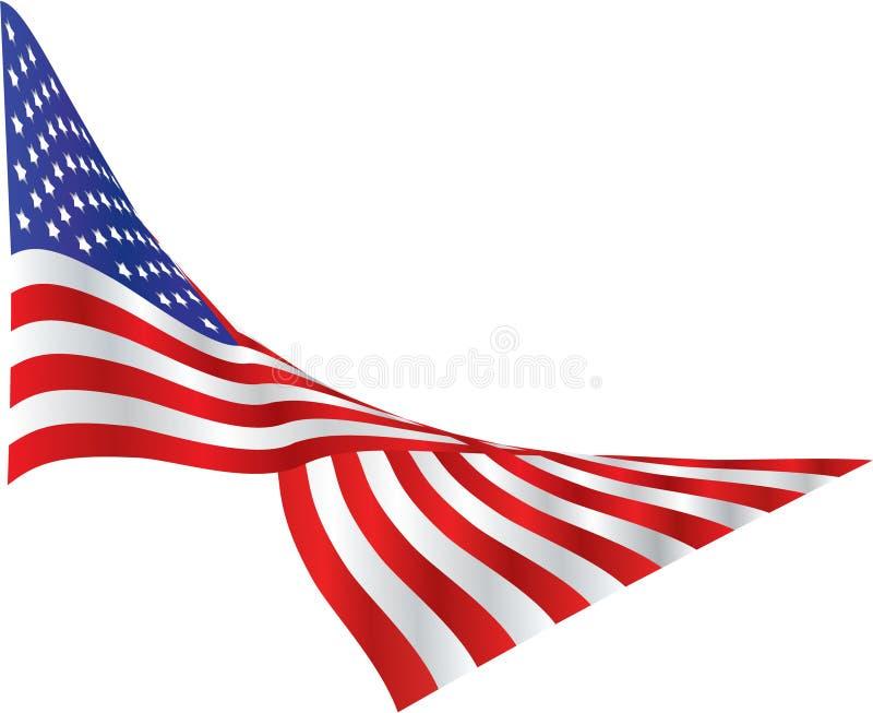 A bandeira americana drapejou no vento ilustração stock