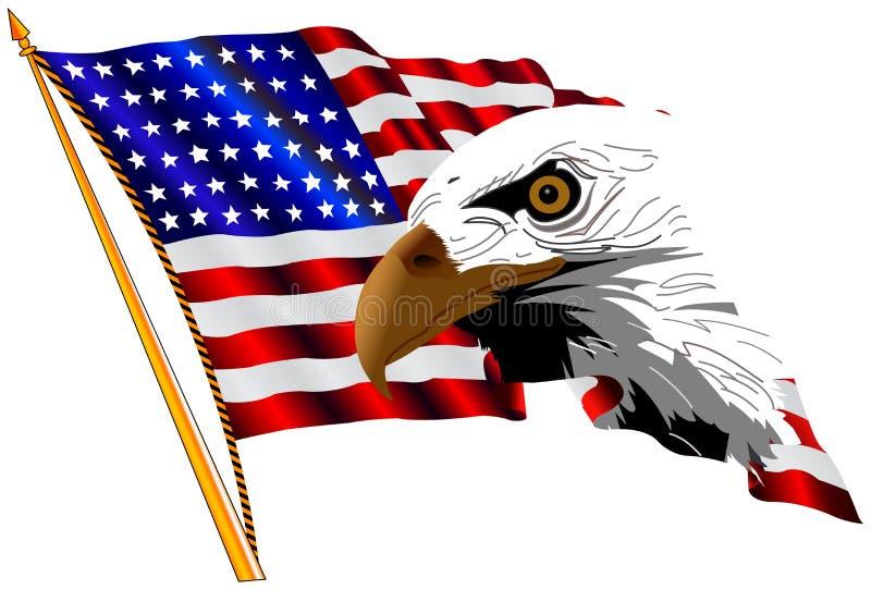 Bandeira americana e águia ilustração do vetor