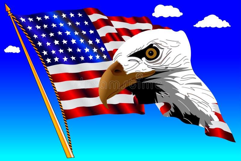 Bandeira americana e águia com céu azul ilustração do vetor