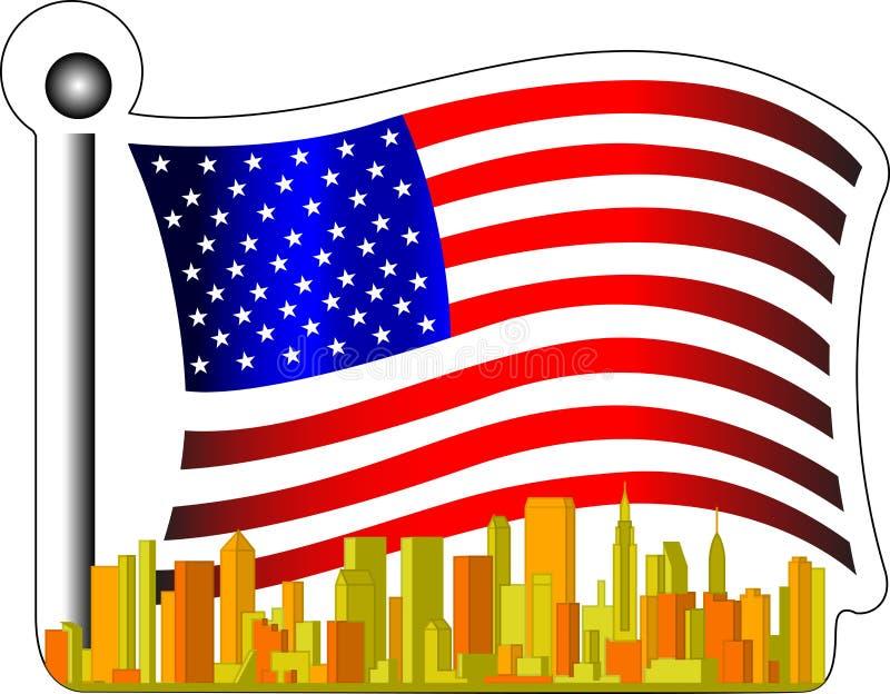 Bandeira americana e cidade ilustração stock