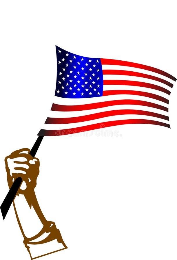 Bandeira americana e mão ilustração do vetor